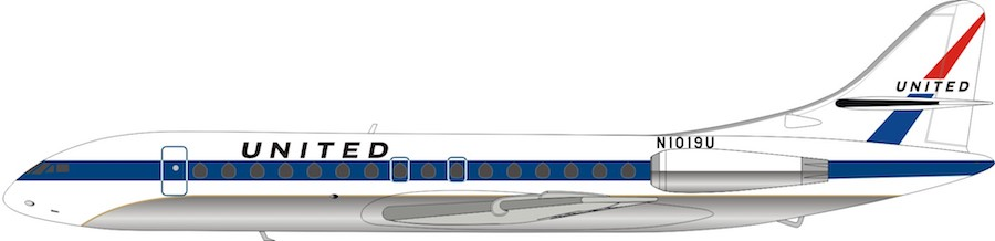 United Airlines Sud SE-210 Caravelle VI-R N1019U With Stand (1:200)