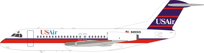US Air Fokker F-28-4000 Fellowship N493US With Stand (1:200) - New Tooling!