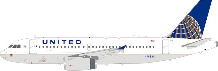 United Airlines Airbus A319-132 N4888U With Stand (1:200)