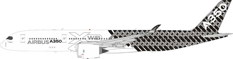Airbus Airbus A350-900 F-WWCF Carbon Livery With Stand (1:200)