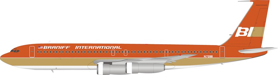Braniff International Airways Boeing 707-300 N7098 With Stand (1:200)