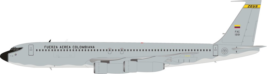 Colombia - Air Force Boeing 707-300 FAC1201 With Stand (1:200)