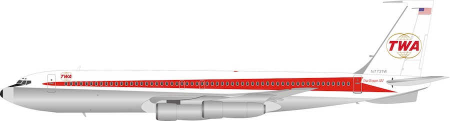 Trans World Airlines - TWA Boeing 707-300 N773TW Polished With Stand (1:200)