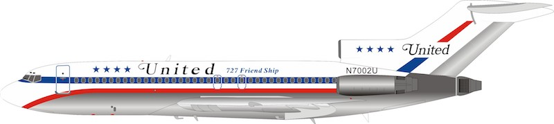 "United Airlines Boeing 727-100 N7002U ""Friendship Livery"" (1:200)"
