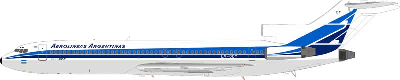 Aerolineas Argentinas Boeing 727-2M7/Adv LV-ODY with stand (1:200)