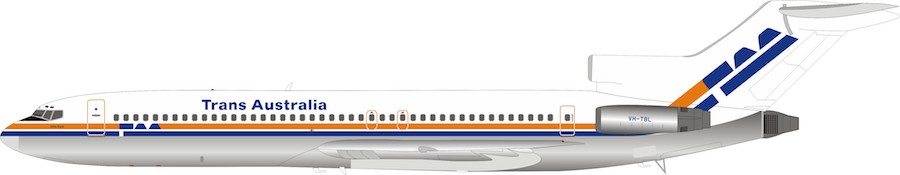 TAA Trans Australia Airlines Boeing 727-200 VH-TBL (1:200)