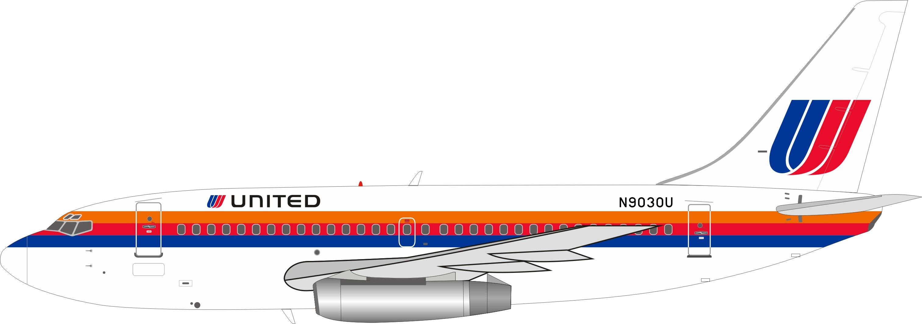 United Airlines Boeing 737-222 N9030U with stand (1:200)