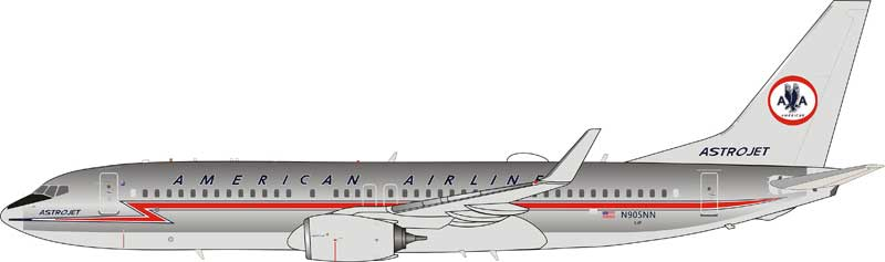 American Airlines Boeing 737-800 N905NN Astrojet, Polished With Stand (1:200)