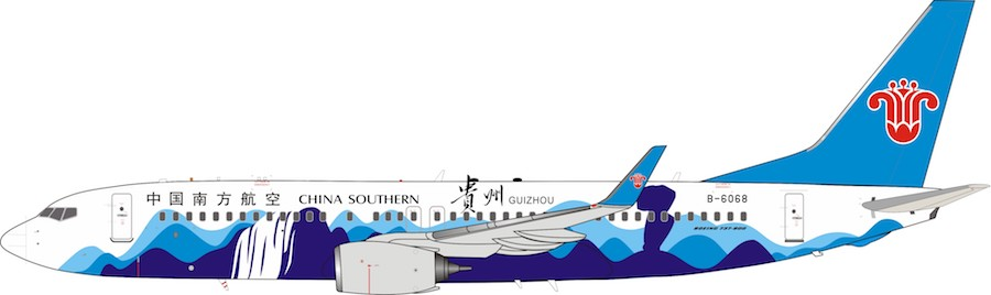 "China Southern Boeing 737-800 ""Guizhou Livery"" B-6068 With Stand (1:200)"