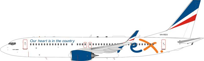 """REX Regional Express Boeing 737-800 VH-REX """"Our heart is in the country"""" (1:200)"""
