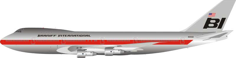 Braniff International Airways Boeing 747-100 N9666 Polished With Stand (1:200)
