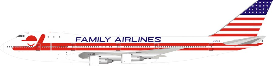 Family Airlines Boeing 747-100 N93117 With Stand (1:200)