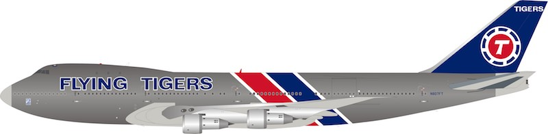 Flying Tigers Boeing 747-200 N807FT Polished (1:200)