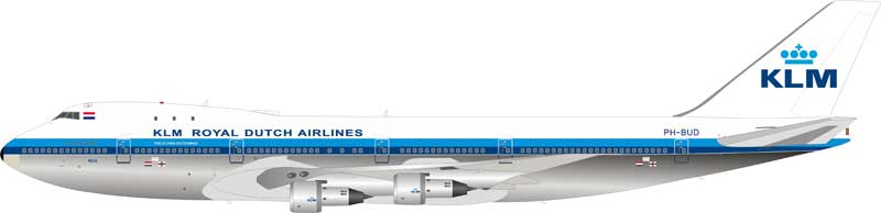 KLM Royal Dutch Airlines Boeing 747-200 PH-BUD Polished (1:200) Limited to 144