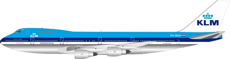 KLM Royal Dutch Airlines Boeing 747-200 PH-BUH Polished With Stand (1:200)
