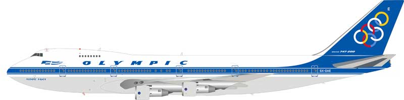 Olympic Boeing 747-212B SX-OAE with stand (1:200)