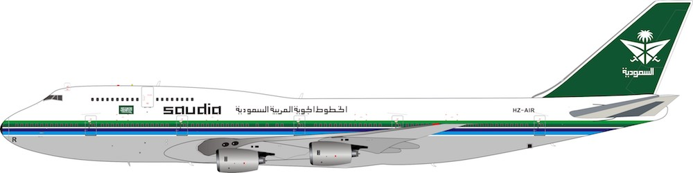 Saudi Arabian Airlines Boeing 747-368 HZ-AIR With Stand (1:200)