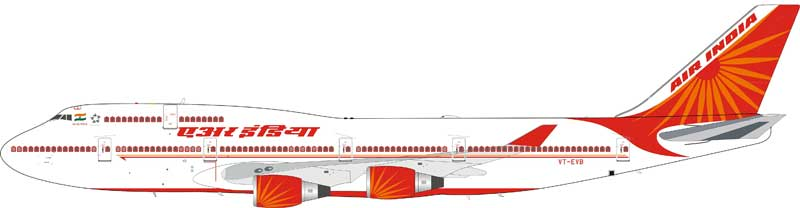 Air India Boeing 747-437 VT-EVB with stand (1:200)