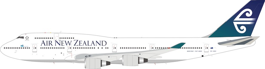 Air New Zealand Boeing 747-419 ZK-NBV and collectors coin with stand (1:200)