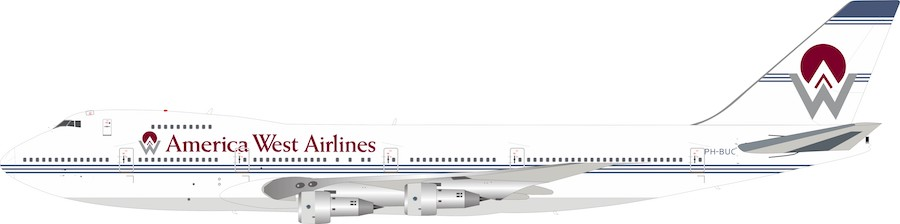 America West Airlines Boeing 747-200 PH-BUC With Stand LTD quantity 60 models (1:200)