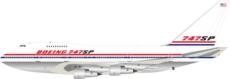 Boeing 747SP N747SP Polished With Stand (1:200)