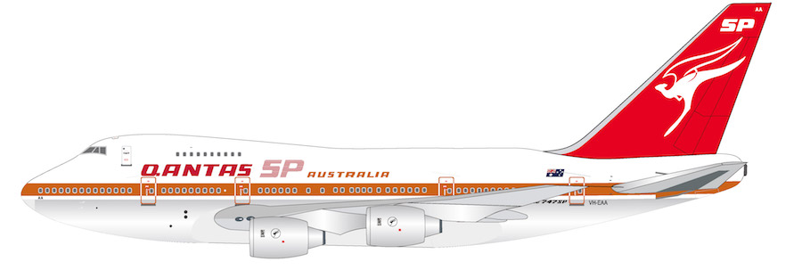 Qantas Boeing 747SP-38 VH-EAA Polished With Stand (1:200)
