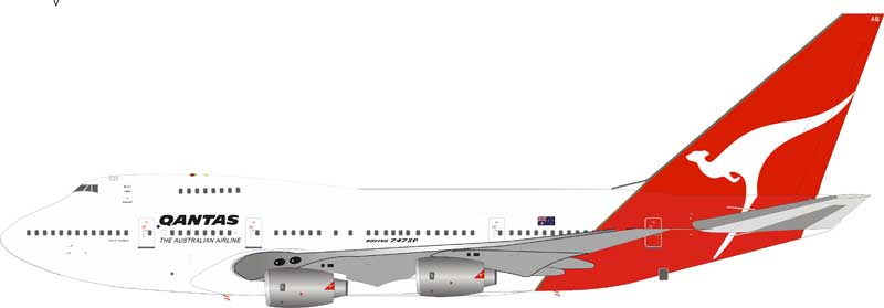Qantas Boeing 747SP-38 VH-EAB with stand (1:200)