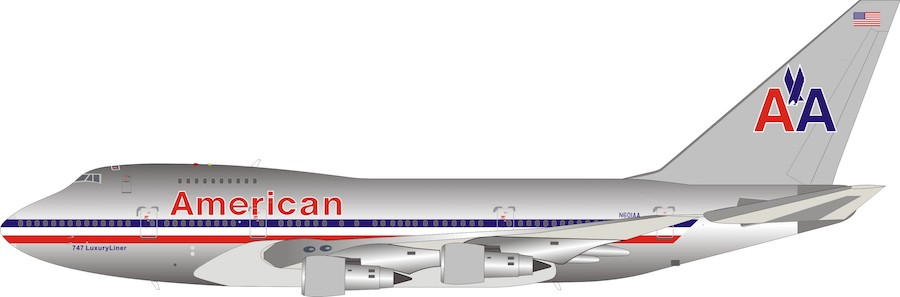 American Airlines Boeing 747SP-31 N601AA Polished with stand(1:200)