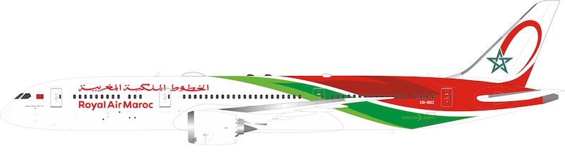 Royal Air Maroc  RAM Boeing 787-9 Dreamliner CN-RGZ With Stand (1:200)