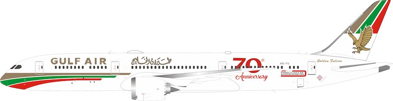 "Gulf Air Boeing 787-9 Dreamliner A9C-FG ""70th anniversary"" With Stand (1:200)"