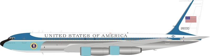 US Air Force Air Force One VC-137C SAM 26000 The Spirit Of '76 Polished with stand & collectors coin. (1:200)
