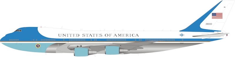 USA - Air Force Boeing VC-25A (747-200) 28000 Polished With Stand & with keyring (1:200)