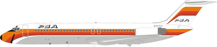 PSA Pacific Southwest Airlines DC-9-32 N707PS With Stand (1:200)