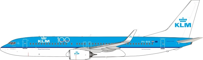 KLM - Royal Dutch Airlines Boeing 737-8K2 PH-BXK 100th Logo With Stand (1:200)