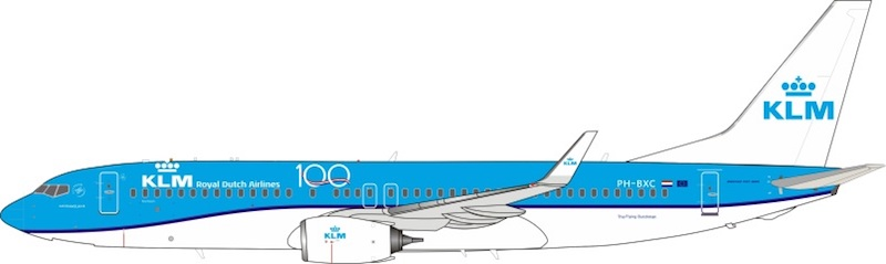 KLM - Royal Dutch Airlines Boeing 737-8K2 PH-BXC 100th Logo With Stand (1:200)
