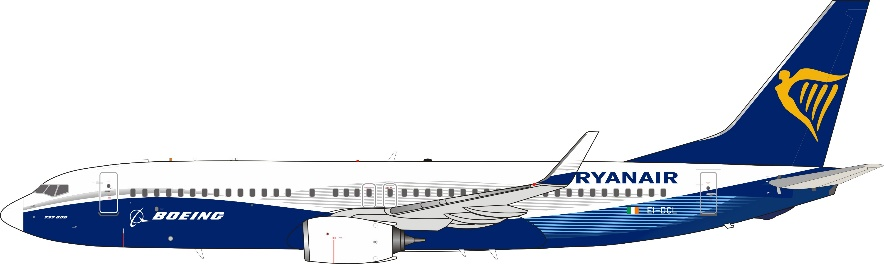"""Ryanair with Boeing colors 737-8AS """"New Colors"""" EI-DCL (1:200)"""