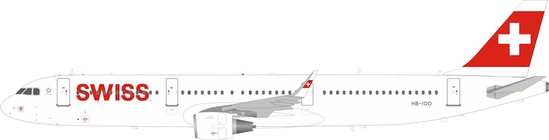 Swiss International Air Lines Airbus A321-212 HB-IOO With Stand (1:200)