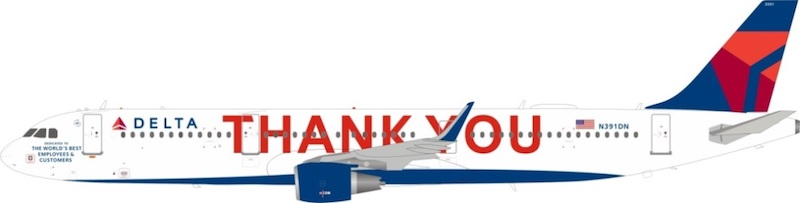 """Delta Air Lines Airbus A321-211 """"Thank you"""" N391DN With Stand (1:200)"""
