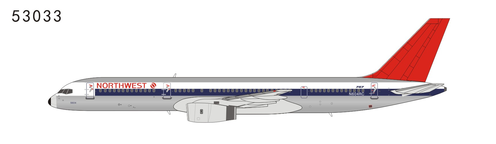 Northwest Airlines 757-200 N604RC full NW color, red tail (1:400)