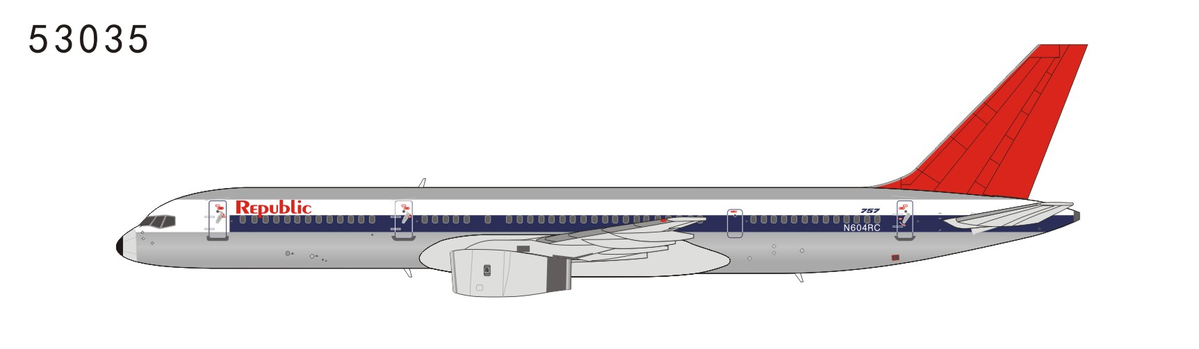 Republic Airlines 757-200 N604RC NW scheme, polished, red tail (1:400)