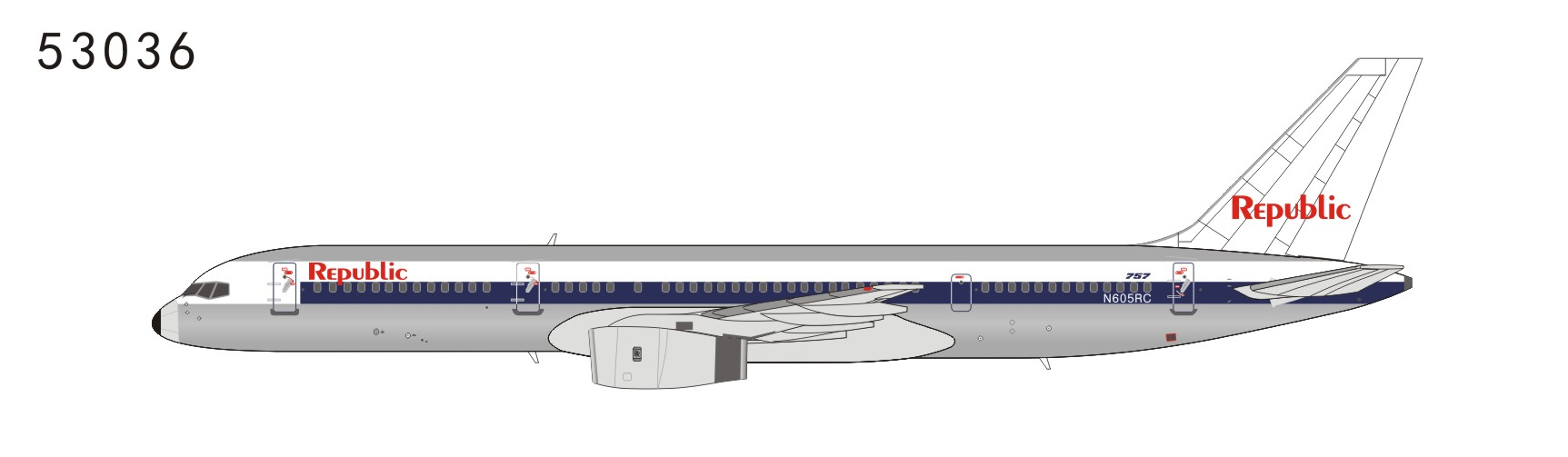 Republic Airlines 757-200 N605RC NW scheme, white tail (1:400)