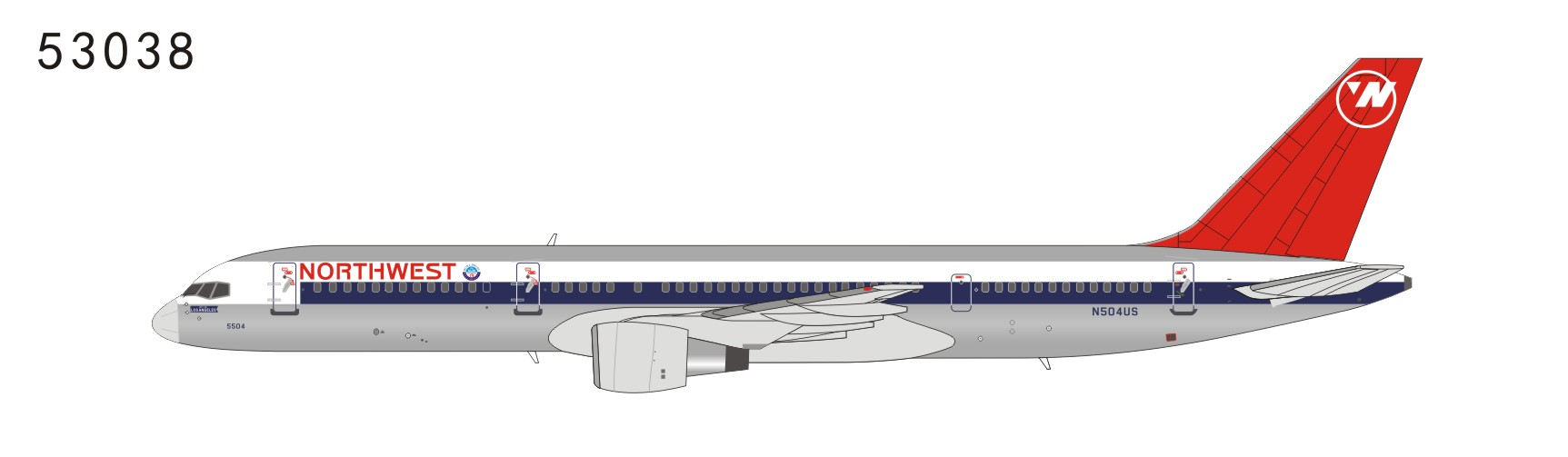 Nothwest Airlines 757-200 N504US full NW color, red tail with logo (1:400)