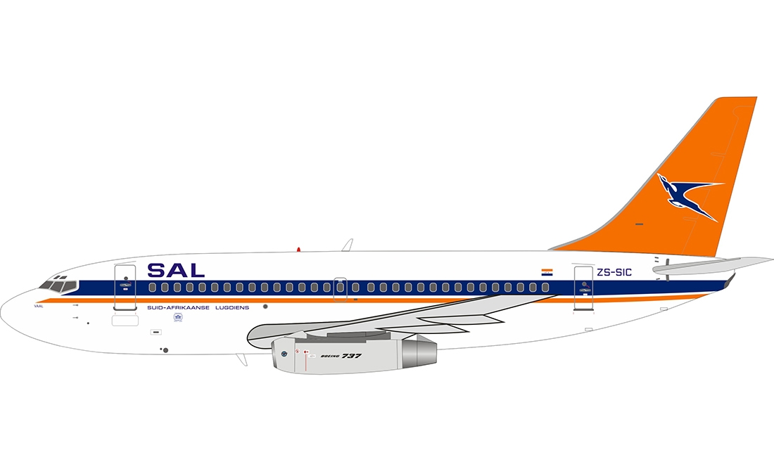 South African Airways Boeing 737-244/Adv ZS-SIC with stand (1:200)