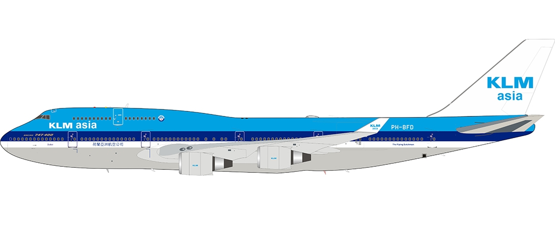 KLM Asia Boeing 747-406M PH-BFD with stand (1:200)
