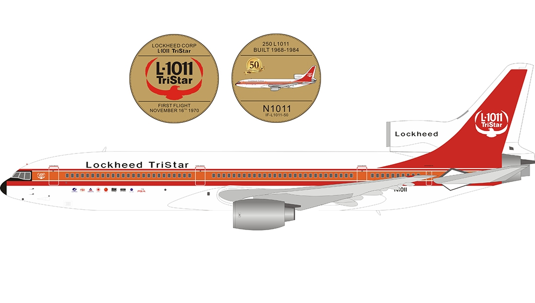 Lockheed Corporation L-1011 N1011 House Colors with stand and 50th anniversary coin (1:200)