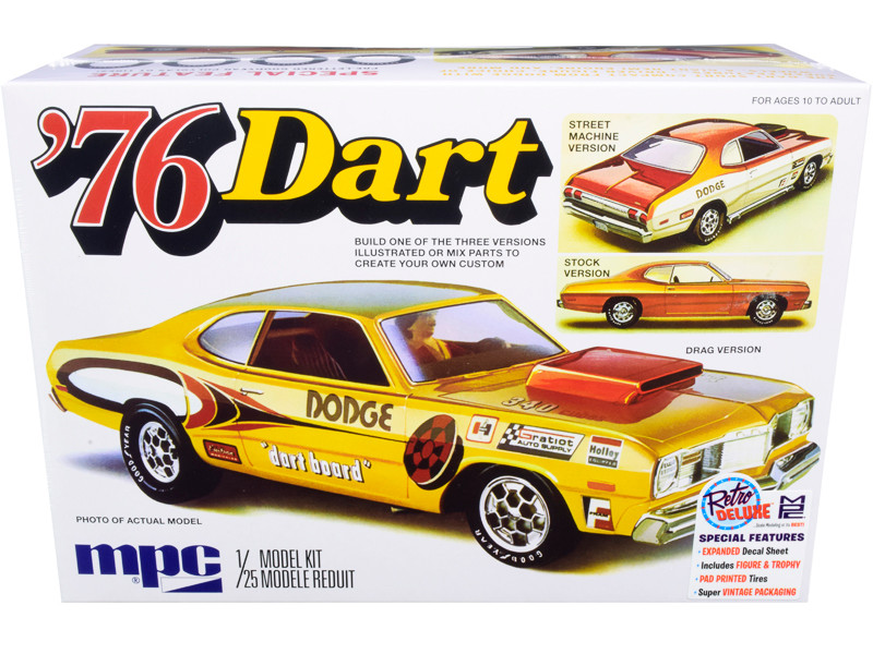Skill 2 Model Kit 1976 Dodge Dart Sport with Two Figurines 3 in 1 Kit 1/25