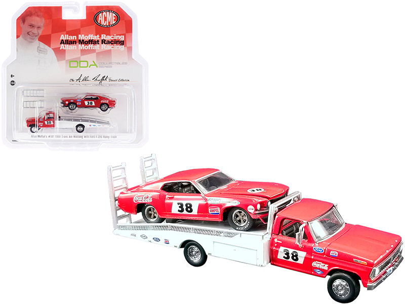 """Ford F-350 Ramp Truck #38 Red and White with 1969 Ford Mustang Trans Am #38 Red """"Coca-Cola"""" Allan Moffat Racing """"DDA Collectibles"""" Series """"ACME Exclusive"""" 1/64"""