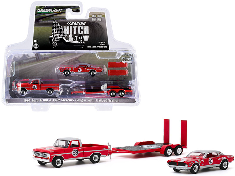 """1967 Ford F-100 Pickup Truck Red with Silver Top and 1967 Mercury Cougar #98 Dan Gurney with Flatbed Trailer """"Racing Hitch and Tow"""" Series 2 1/64"""