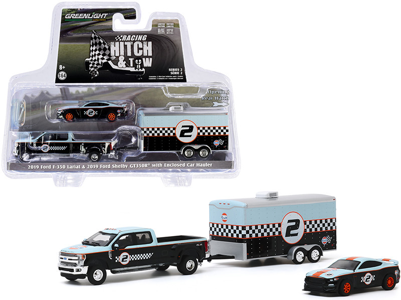"""2019 Ford F-350 Lariat Dually Pickup Truck and 2019 Ford Mustang Shelby GT350R #2 with Enclosed Car Hauler """"Gulf Oil"""" """"Racing Hitch and Tow"""" Series 2 1/64"""