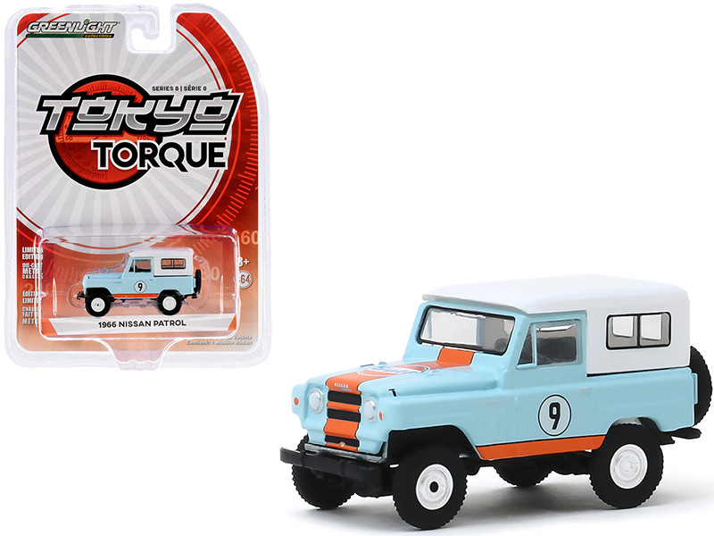 """1966 Nissan Patrol #9 """"Gulf Oil"""" Light Blue with White Top and Orange Stripes """"Tokyo Torque"""" Series 8 1/64"""